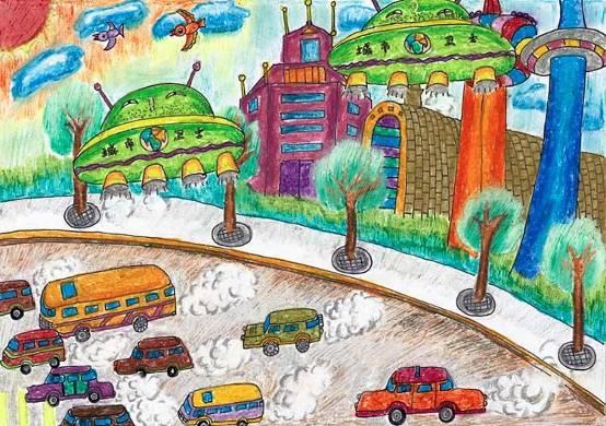 """任薏潼 8岁 :""""环境破坏,汽车尾气等现象使我们的地球家园也许在不久"""