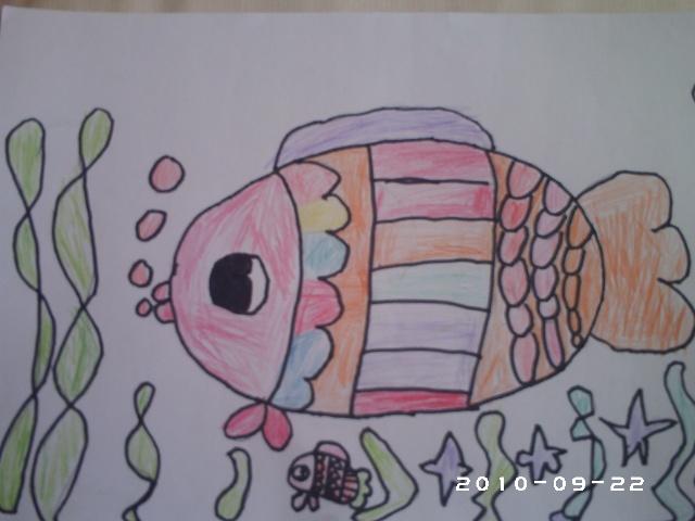 绘画作品《祝大家中秋节快乐》,《泡泡鱼》