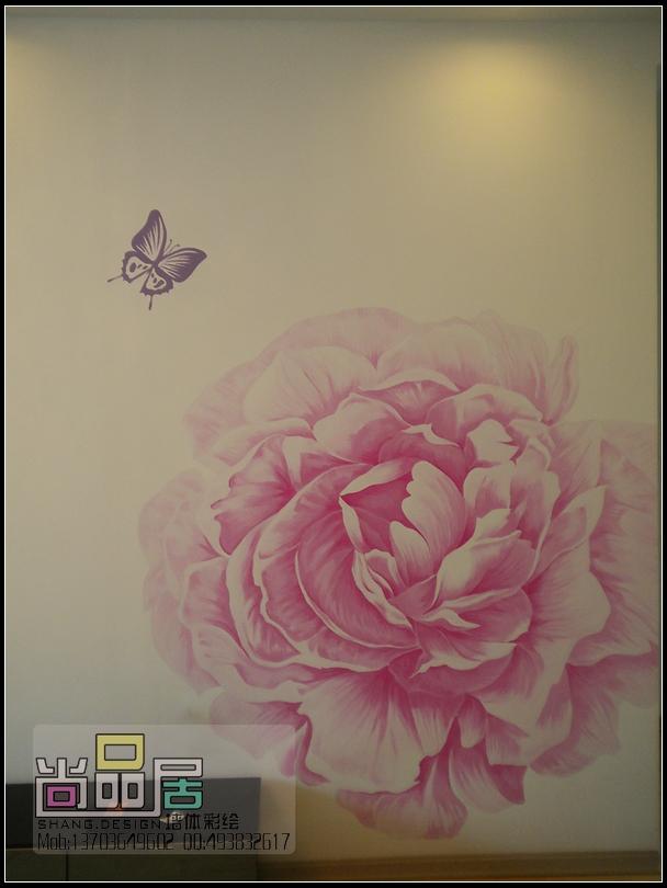 哈尔滨手绘墙画 尚品居作品—牡丹花彩绘