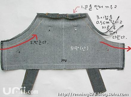 DIY童装工装背带裤 裁剪图及制作
