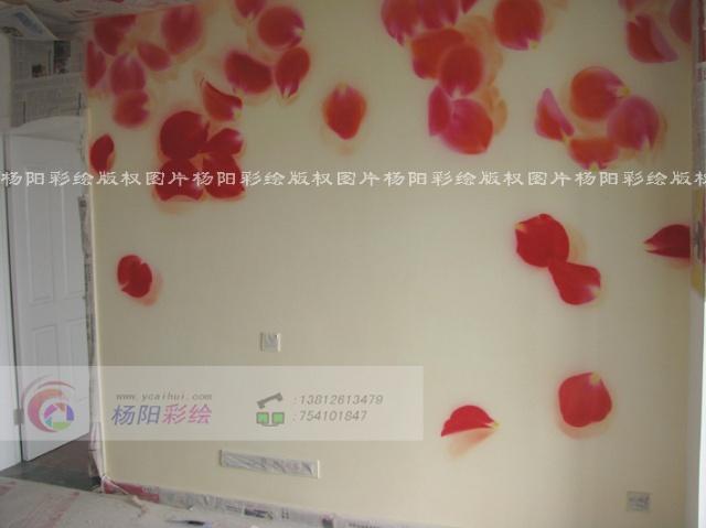 苏州吴江手绘墙-客厅靓丽时尚墙体彩绘-花瓣雨