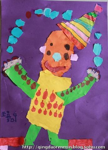 撕贴画:小丑——5岁孩子的作品-青岛金童话儿童美术