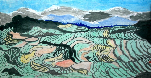 桂林山水手绘简笔画