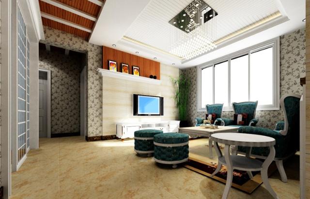 客厅电视墙,采用大理石和生态木琴线(喷漆)两种材料,采用欧式线条进行