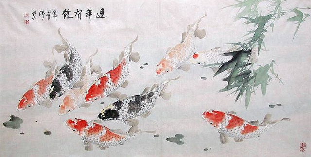 水墨锦鲤古风素材图片
