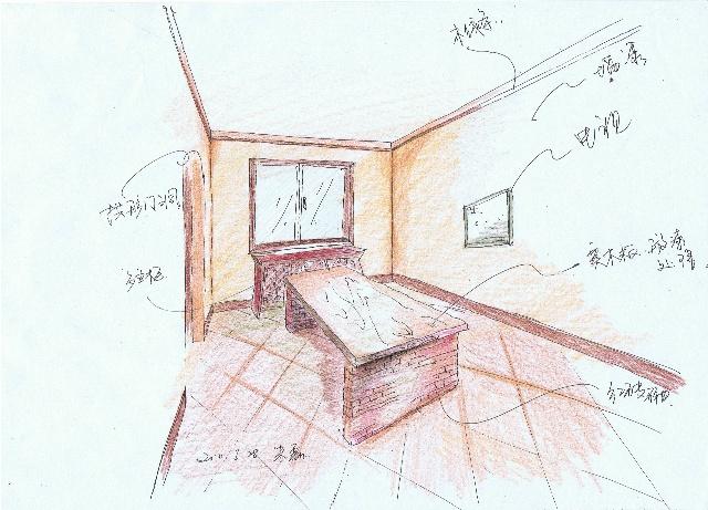 手绘效果草图~~~~垒式风格-北京专业别墅设计-佛堂
