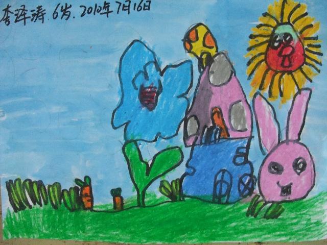 简笔画 兔子的蘑菇小房