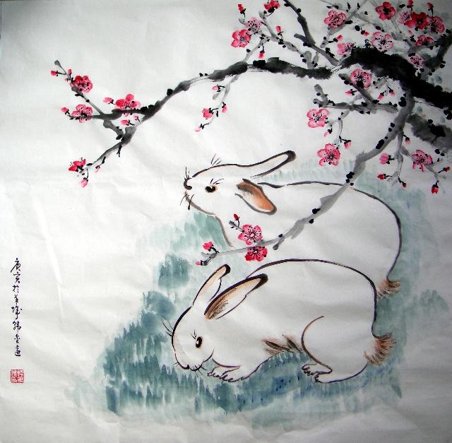 儿童水墨画兔子