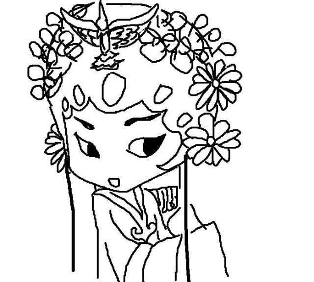 黑白手绘花旦半脸图片