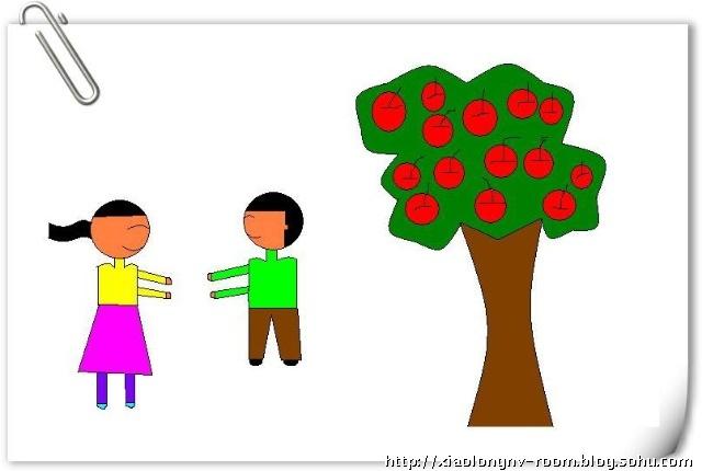 幼儿画画作苹果树