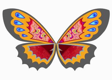 七,新建图层,画一个蝴蝶的身子,步骤和上面第(二)同,放与中央,就ok了.